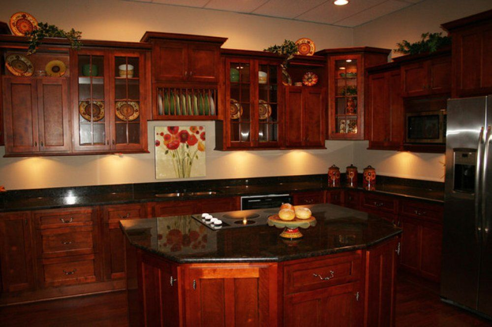 Refreshing Dark Cherry Kitchen Cabinets On Kitchen With ... on Backsplash Ideas For Black Granite Countertops And Cherry Cabinets  id=69934