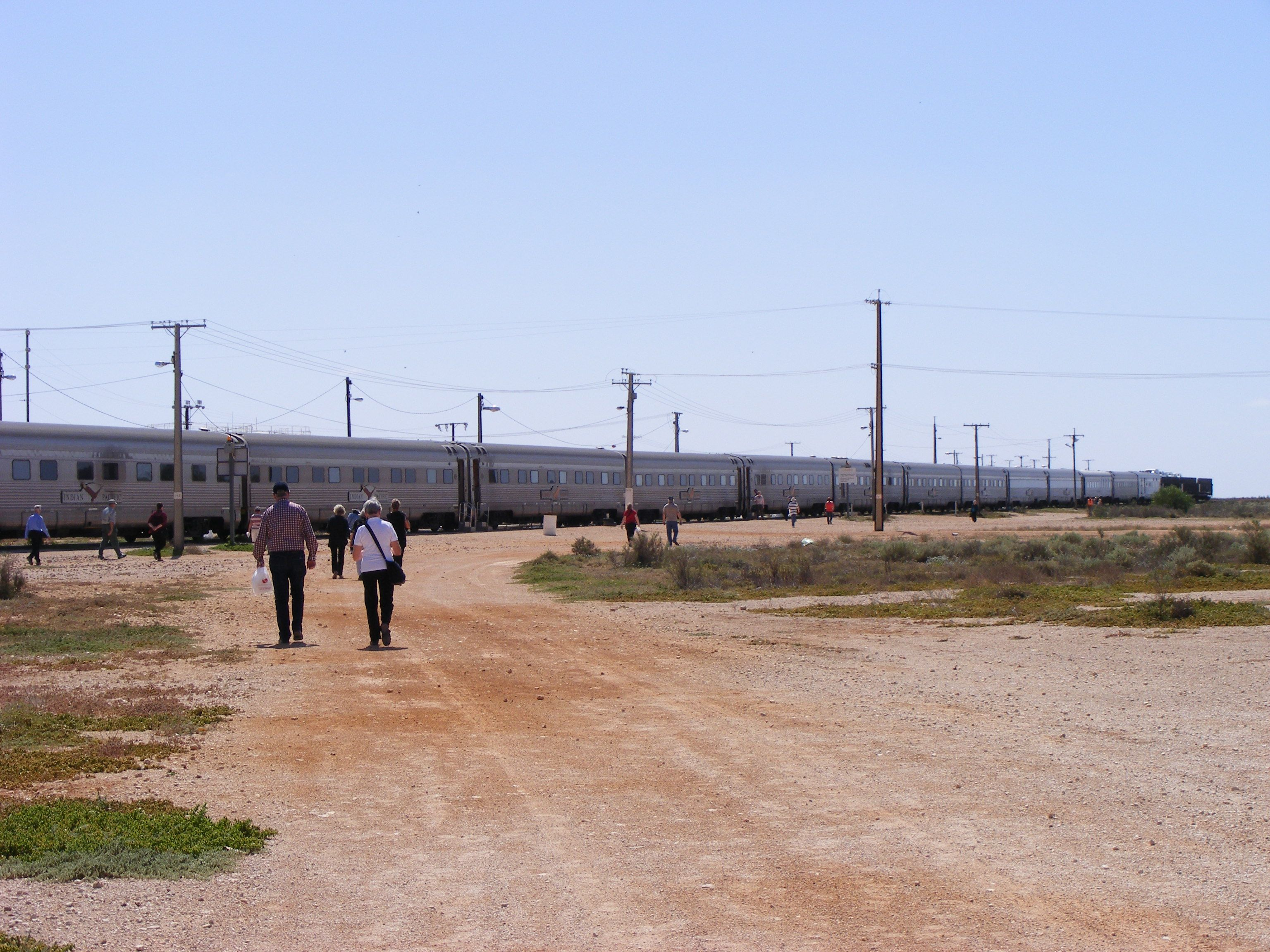 Indian Pacific stopped at Cook in the middle of the Nullarbor