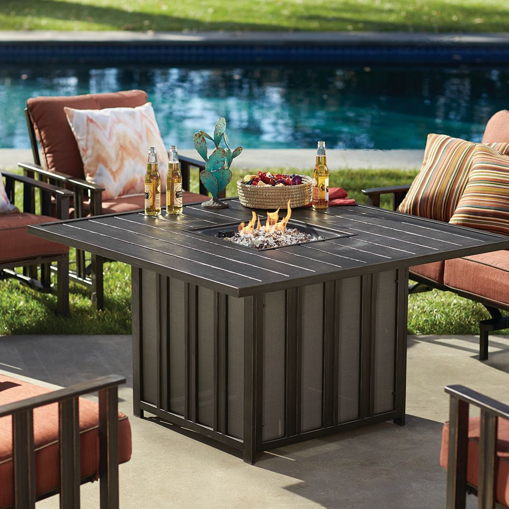 Courtyard Creations Inc Santorini Gas Firepit Table Patio Table Outdoor Heating Gas Fire Pit Table