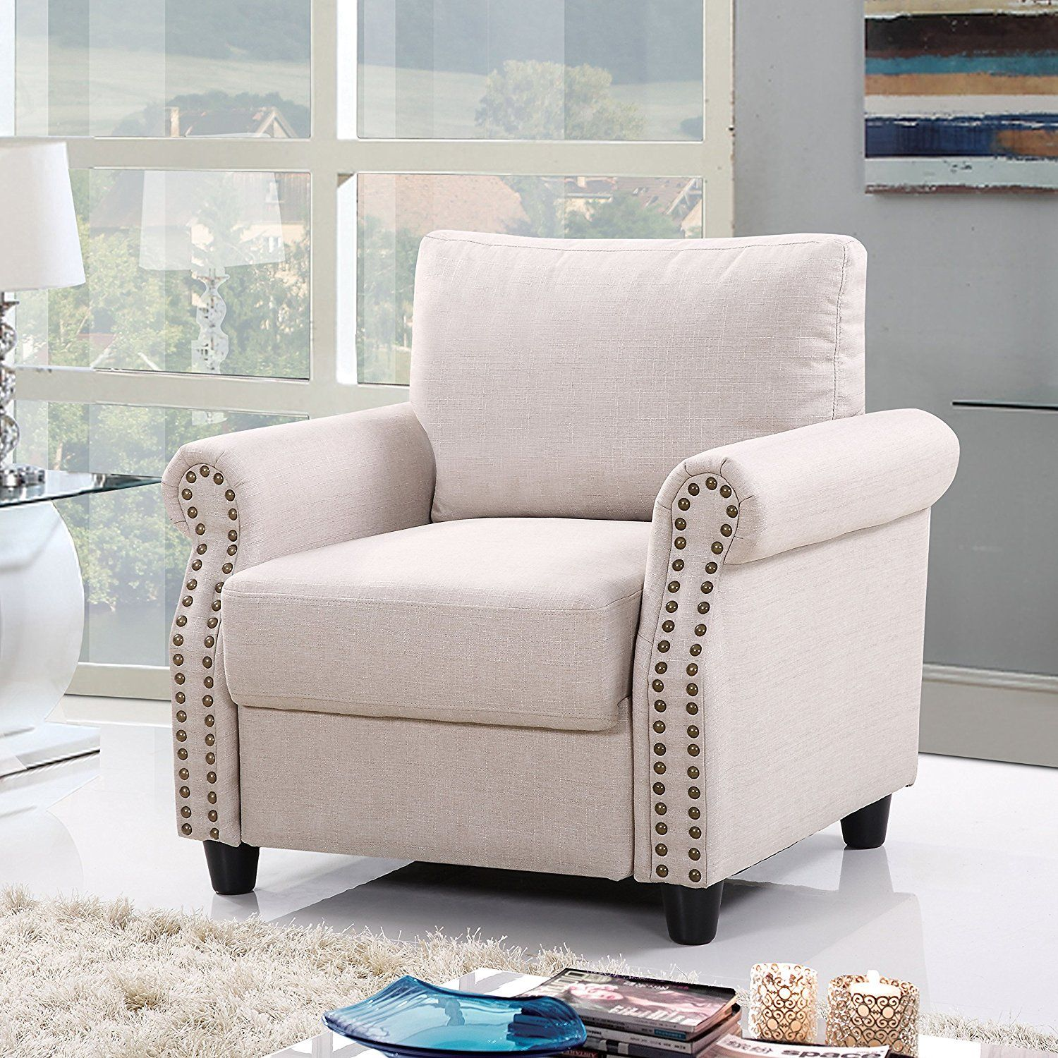 amazon classic living room linen armchair with