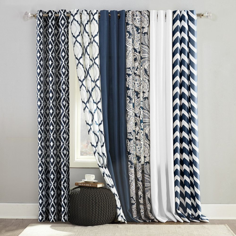 The Big One 2 Pack Navy Window Curtain Collection Null