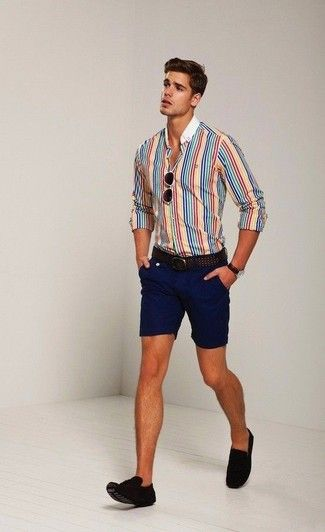 Men's Aquamarine Long Sleeve Shirt, White Shorts, Blue Canvas Boat ...