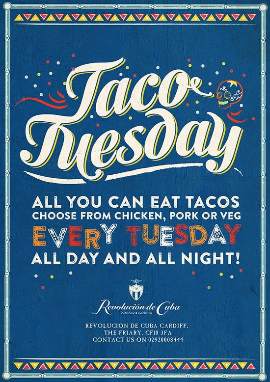 taco tuesday food menu poster cuban and mexican graphic design by