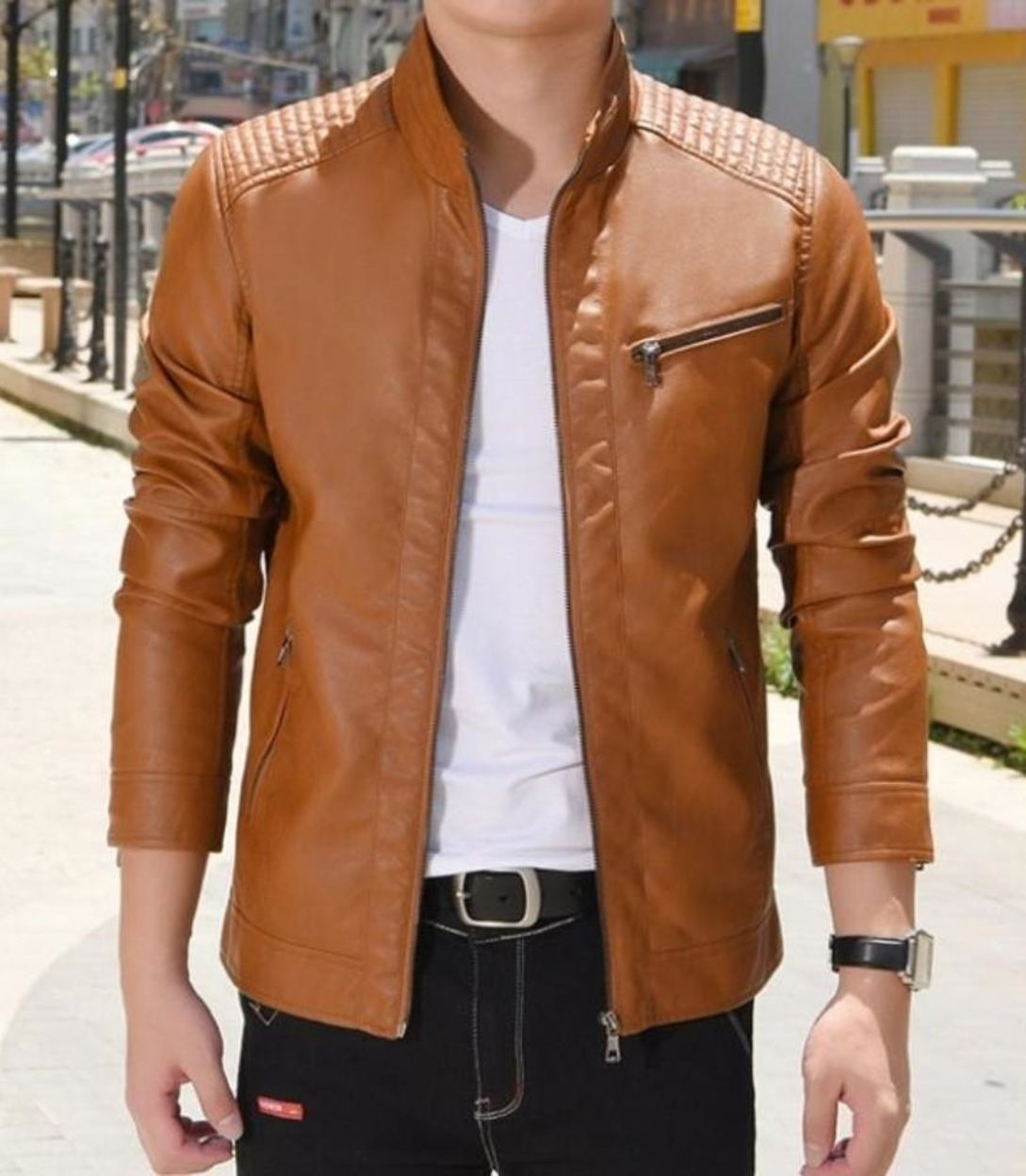 Mens Faux Leather Biker Jacket Jaket Kulit Jaket Kulit [ 1248 x 1089 Pixel ]