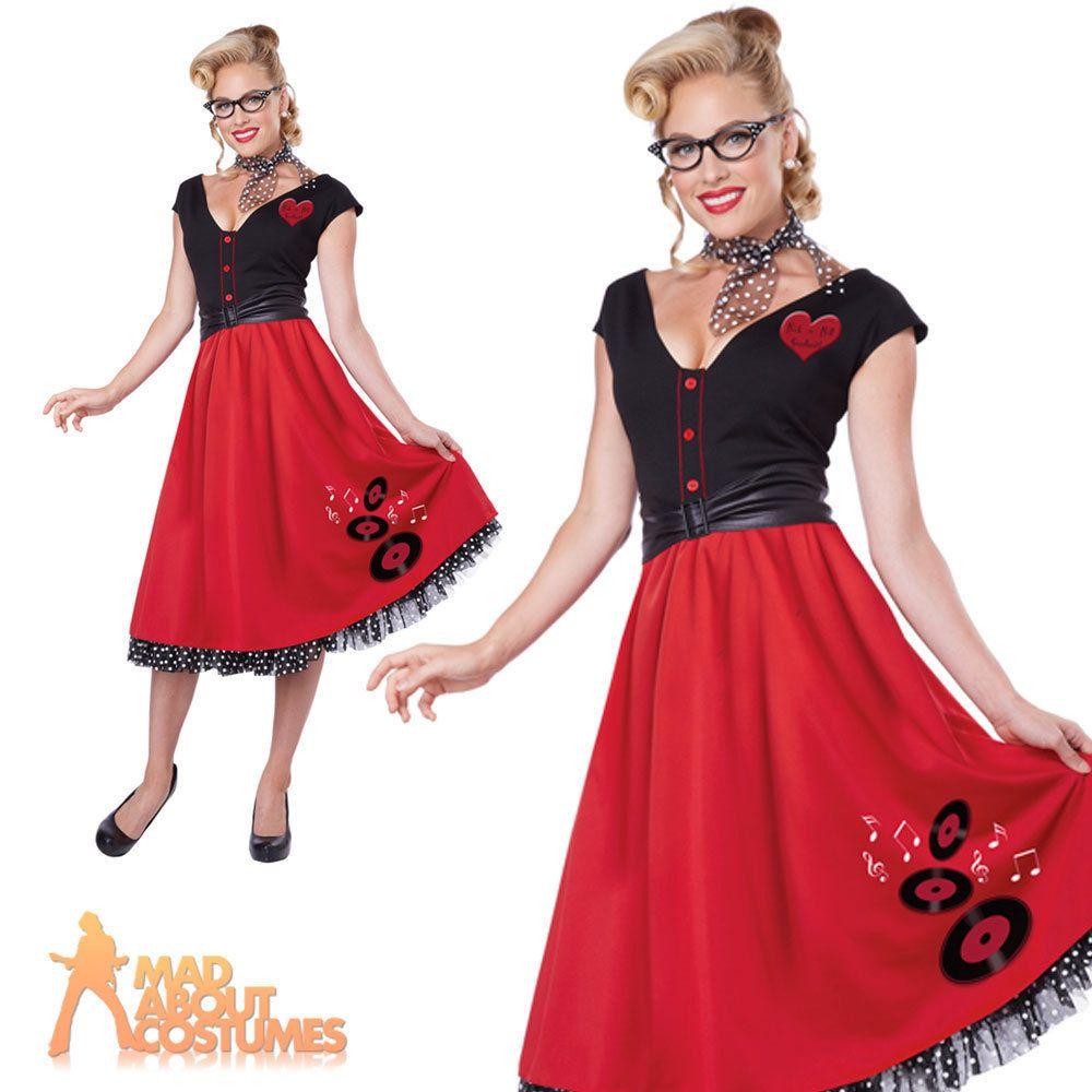 80bd681f0e 50s Nifty Rock n Roll Sweetheart Costume Poodle Grease Hop Dress Fancy Dress