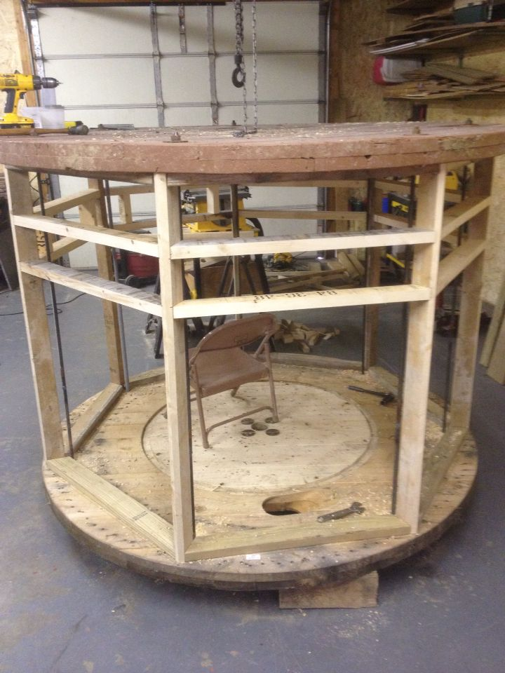 duck hunting chair caldwell shooting pod deer blind made from a cable spool | pinterest cable, and archery