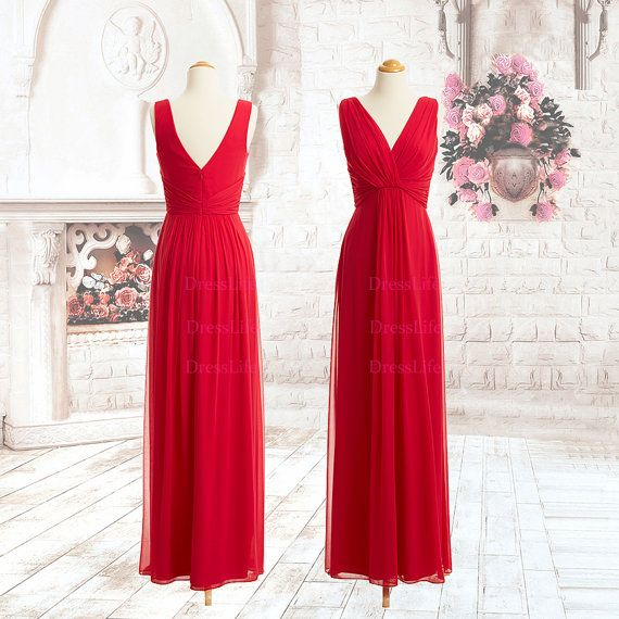 Elegant VNeck Gathered Bodice Chiffon Floor Length by DressLife