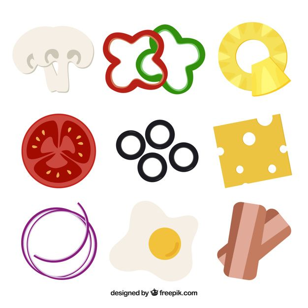 Image result for pizza ingredients vector | peperoni pizzeria ...