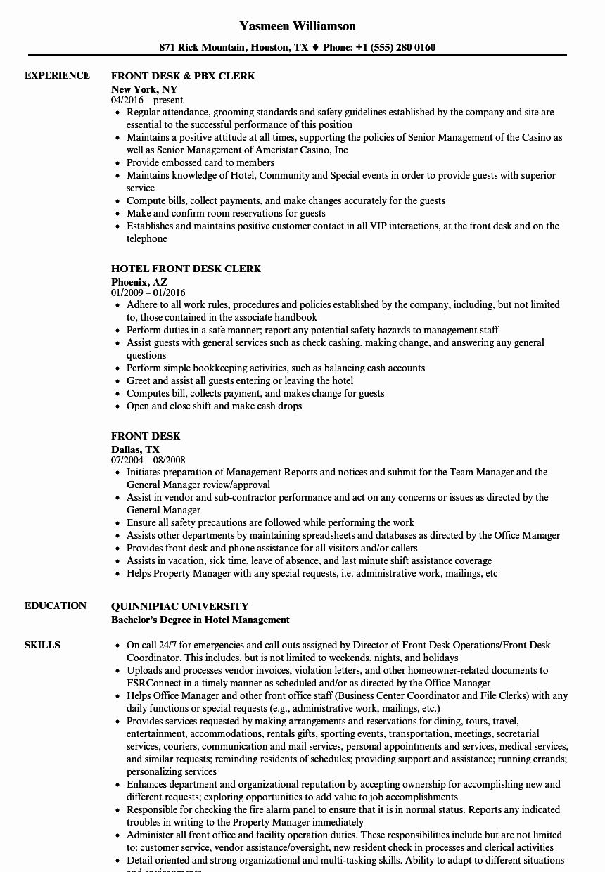 Front Desk associate Resume Best Of Front Desk Resume