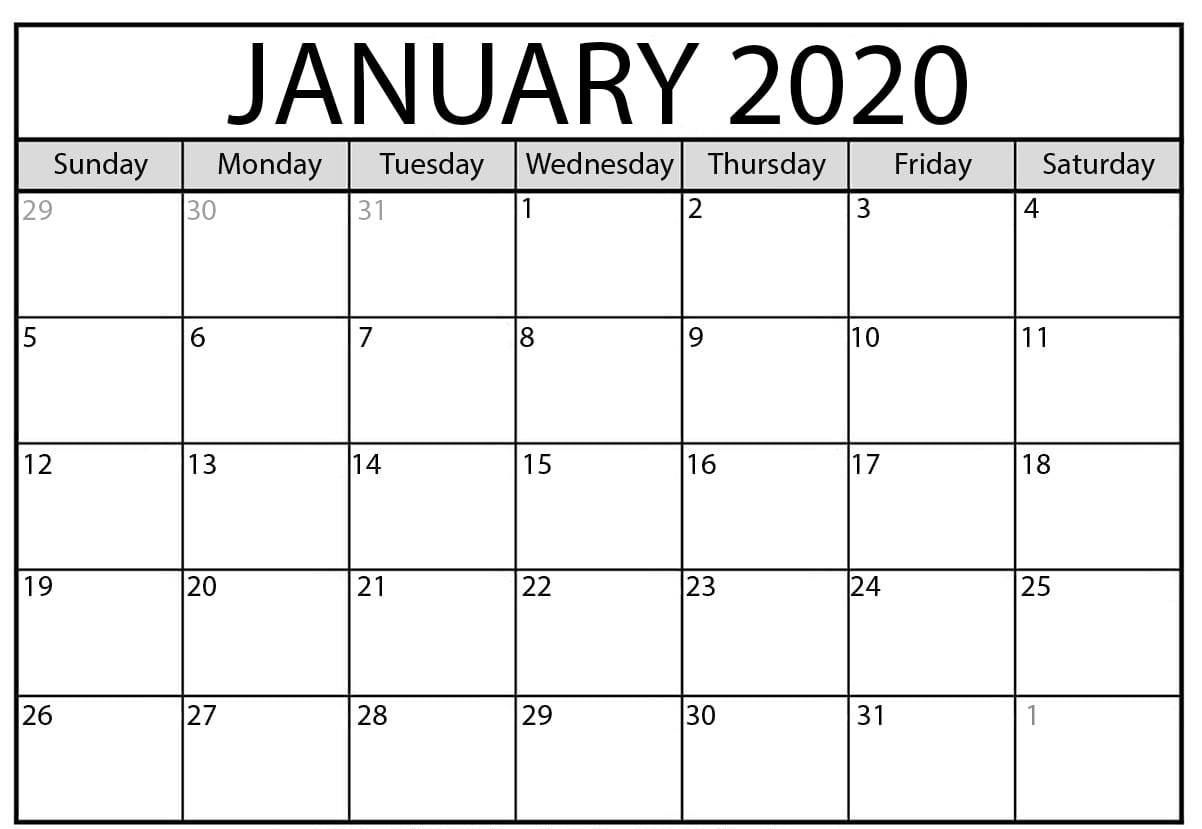 Free January Calendar Word Excel Printable