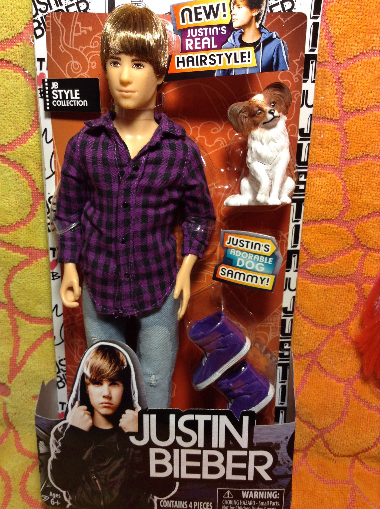 Justin Bieber Doll With Purple Plaid Shirt And Torn Jeans