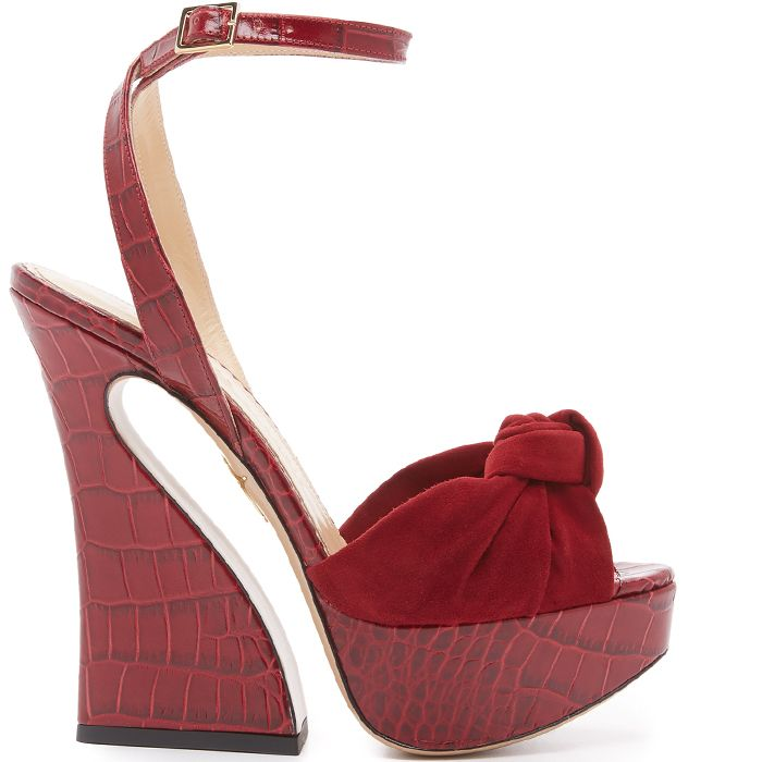 Charlotte Olympia Embossed Leather Ankle Strap Sandals outlet footlocker outlet purchase ydhdqKwZA