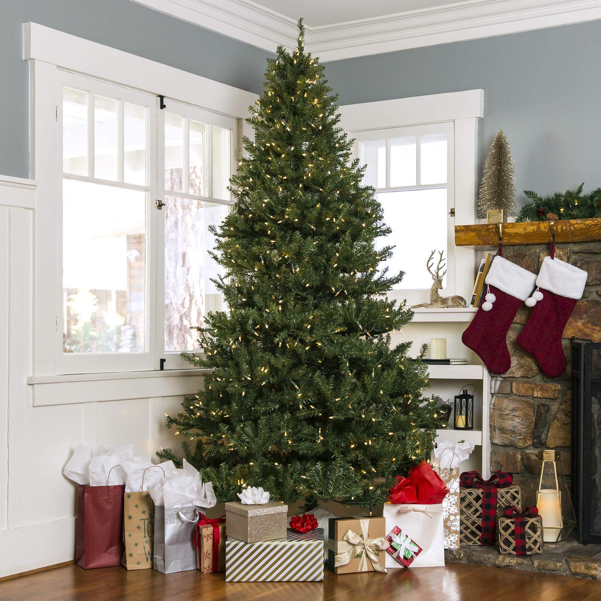 Best Choice Products 7 5ft Premium Prelit Hinged Douglas Full Fir Artificial Christmas Tree Holida Fake Christmas Trees Holiday Decor Artificial Christmas Tree