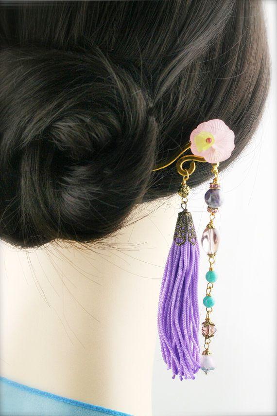Amethyst Hair Tassels