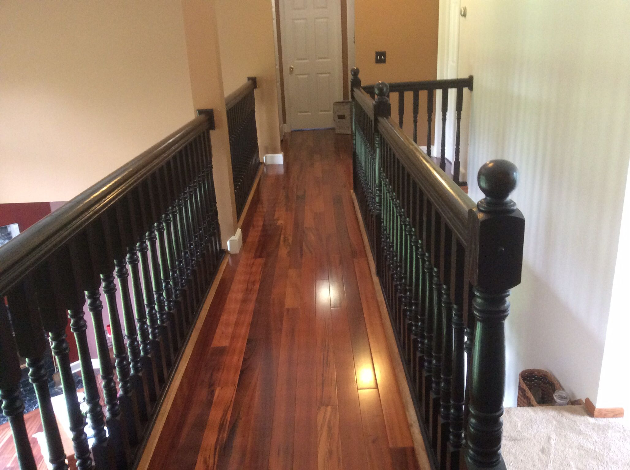 Java light rail molding cabinets com - Stair And Railing Redo With General Finish Java Gel Stain Floor Bellawood Brazilian Koa 3