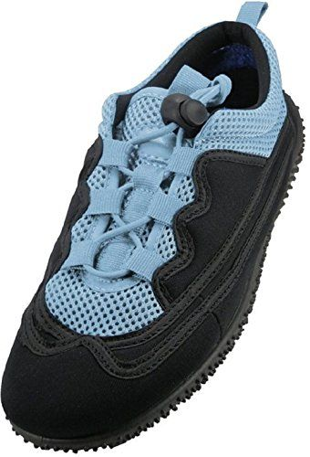 Easy USA Womens Lace Up Water Shoes Black Blue Size 6 *** More ...