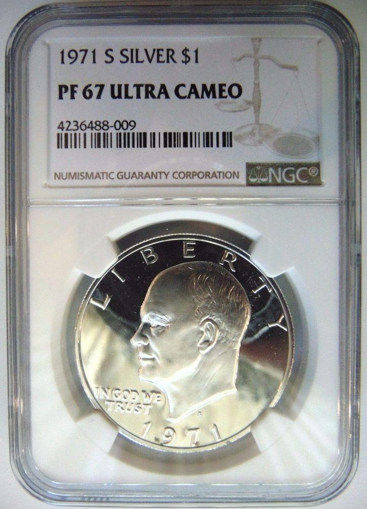 Us 1971 S Ike Eisenhower 1 Dollar 40 Silver Bu Brilliant Uncirculated Coin World Coins Coins Ebay