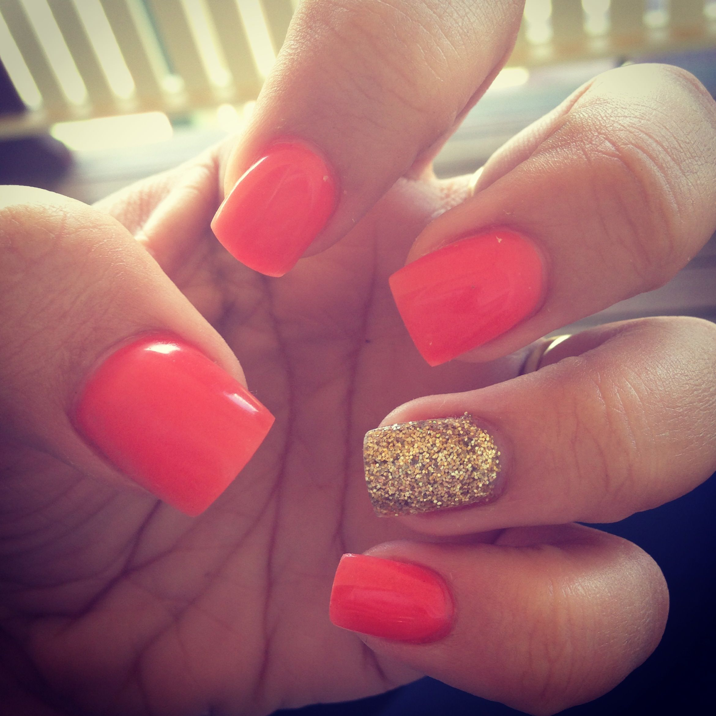 Acrylic nails Fluro orange and gold glitter :) | nails | Pinterest ...