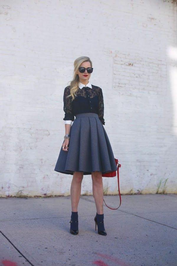 51a67362357bd6 La jupe corolle pour une silhouette avec auréole | Minimal | Mode ...