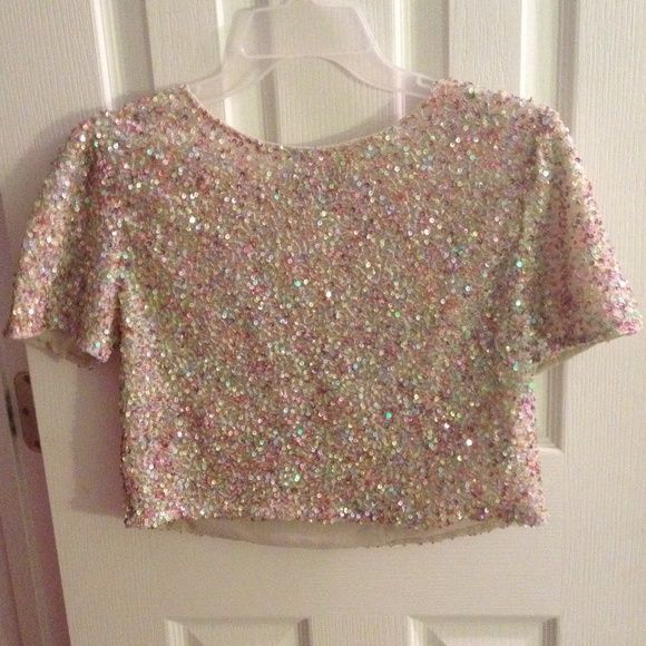 Topshop Colorful sequined crop top Worn once, delicate sequined detail. Bought this at the original Topshop store in London! Topshop Tops Crop Tops