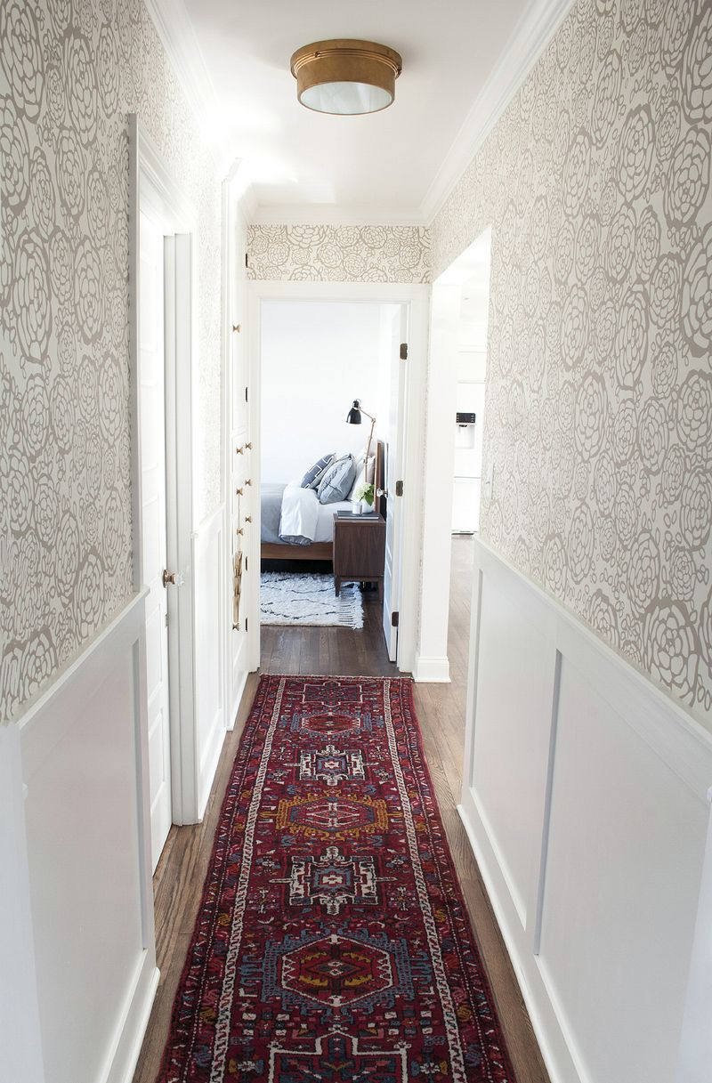 Traditional hallway wallpaper  Hallway  Hallway and Stairs  Pinterest  Faux wainscoting Living
