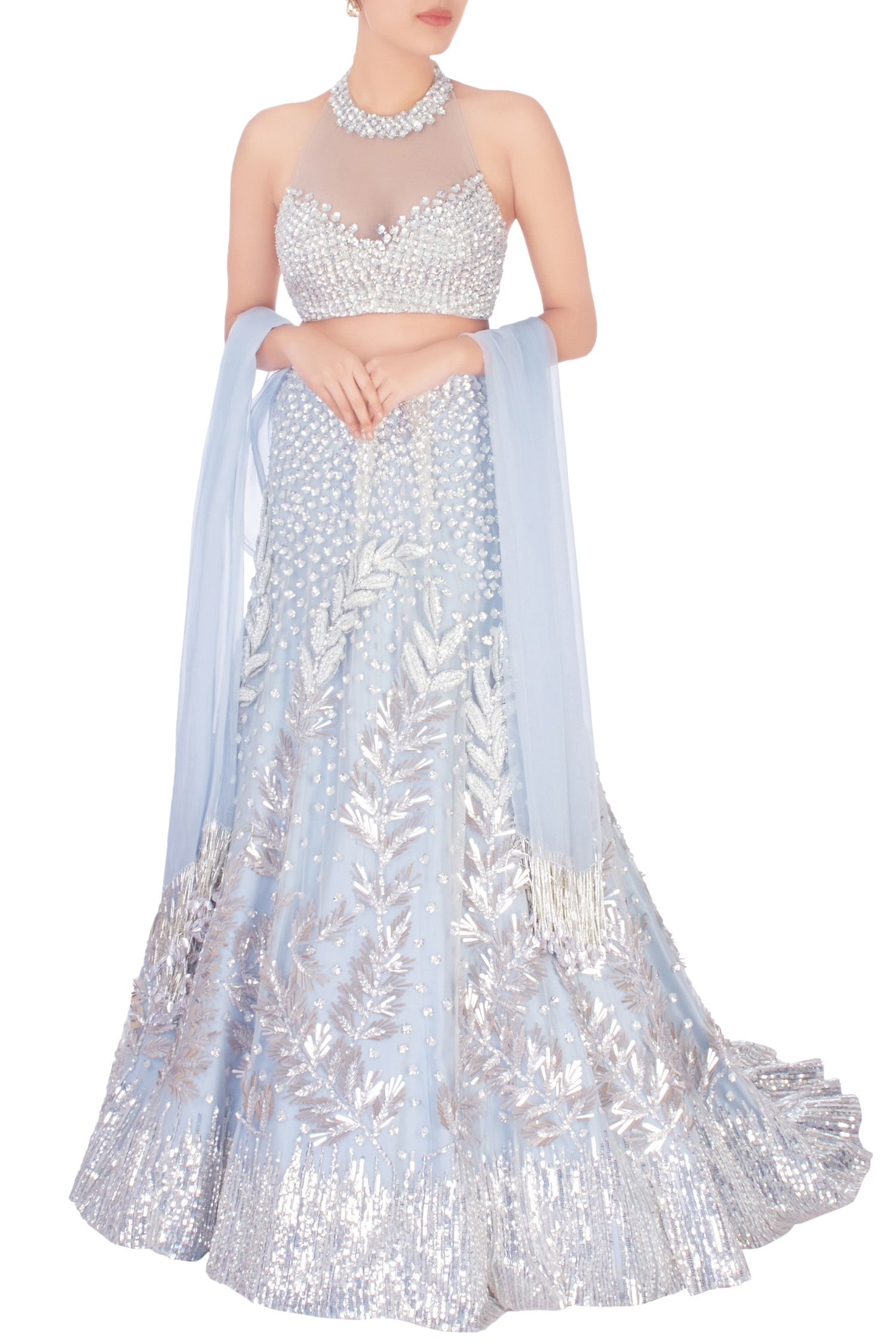 Greyish blue embroidered net lehenga set indian dress pinterest