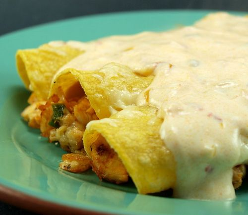 Chicken Enchiladas With Chipotle Sour Cream Sauce Evil Shenanigans Baking Sour Cream Sauce Recipes Mexican Food Recipes