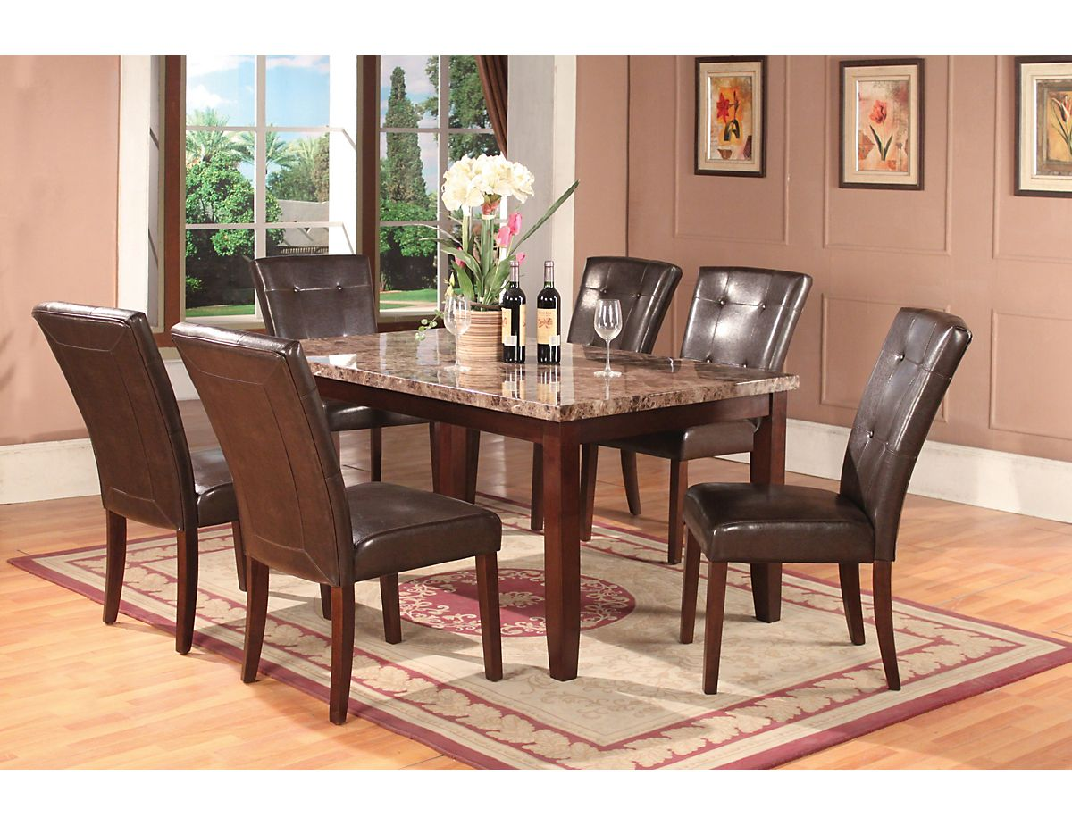 7 piece tahoe kitchen makeover pinterest kitchens leather chairs that are easy to clean when the kids spill and a faux marbel top that they cant scratch dzzzfo