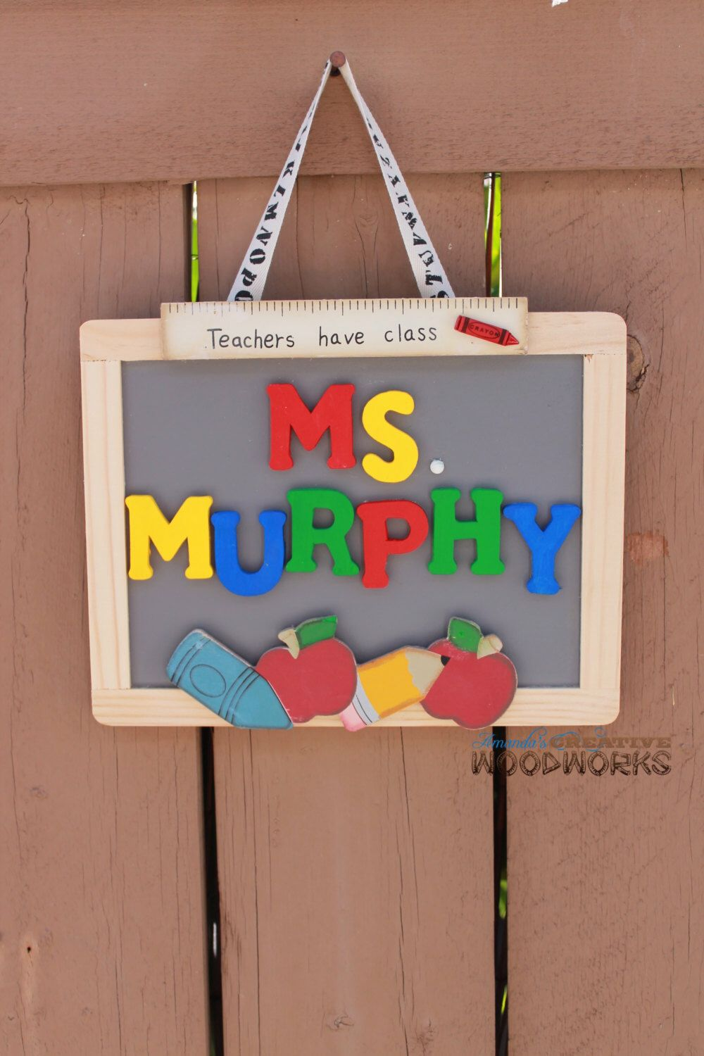 Classroom Decor Gifts ~ Personalized teacher chalkboard door sign