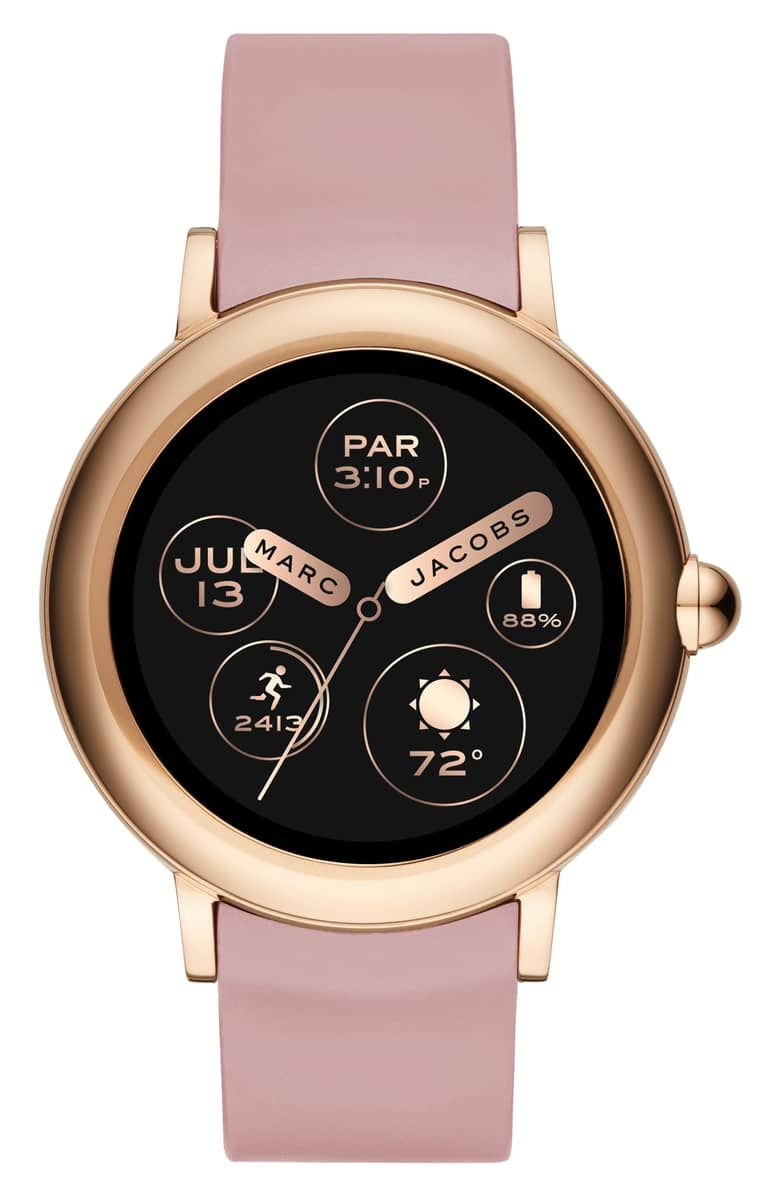 Marc Jacobs Riley Silcone Strap Smart Watch 44mm Nordstrom Rose Gold Watches Marc Jacobs Accessories