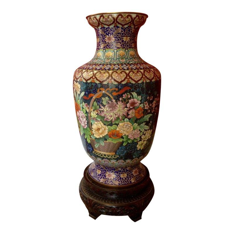 Chinese Cloisonne Blue/Flower Basket Floor Vase & Stand