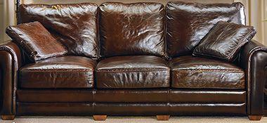 The Dump Furniture Outlet 97 Vintage Cigar Leather Sofa