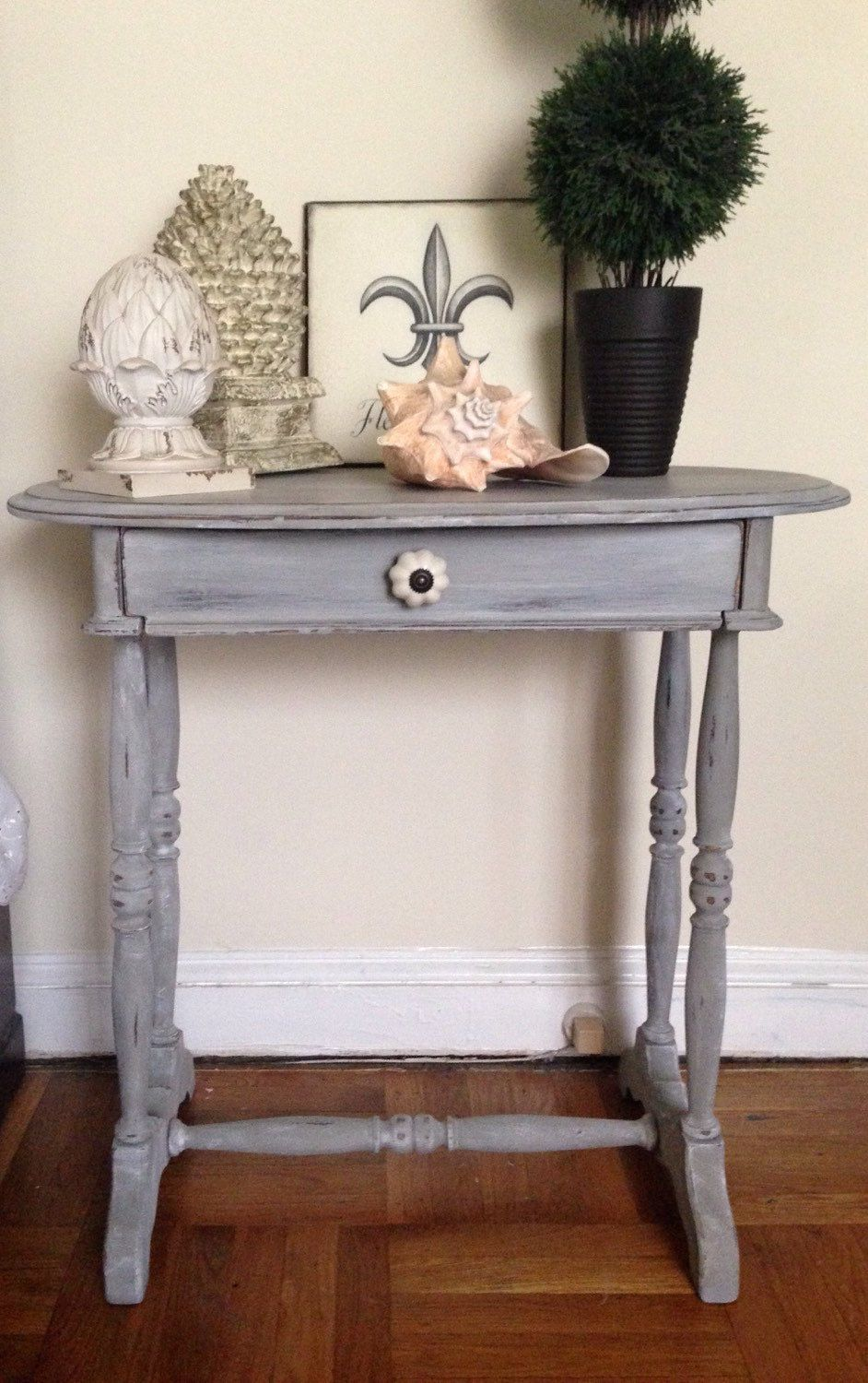 Vintage Entry Table Hand Painted In Weathered Grey Technique