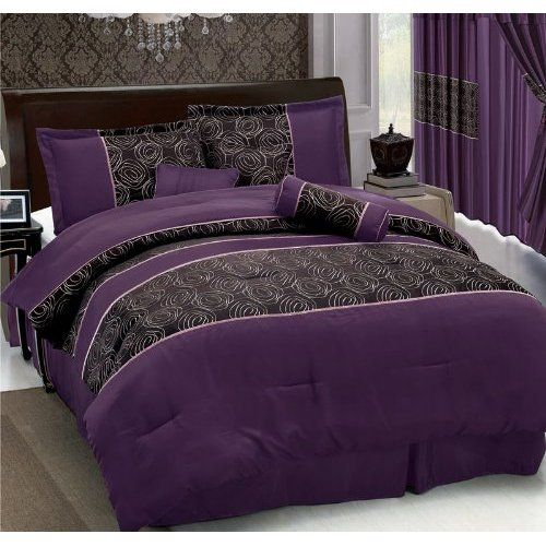 Black Purple Comforter Set - I LOVE