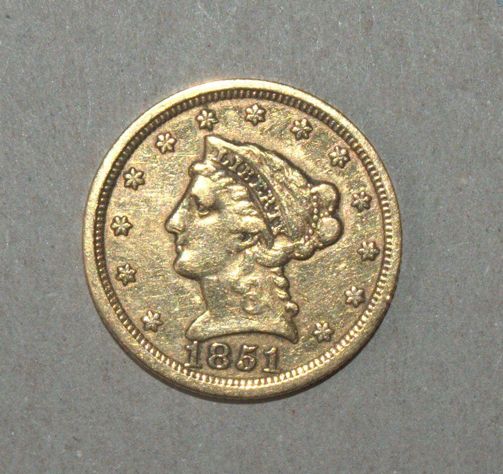 Usa 1851 2 1 2 2 5 Dollar Gold Coin Coronet Liberty Head Quarter Eagle Km 72 Coins Gold Coins Coronet