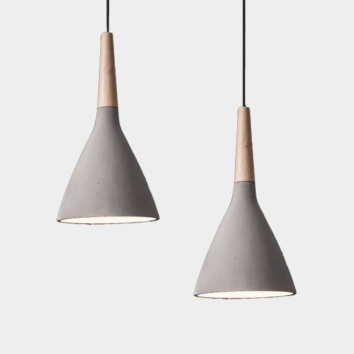Timber Concrete Pendant Light Length: Approx.1m Cable Size