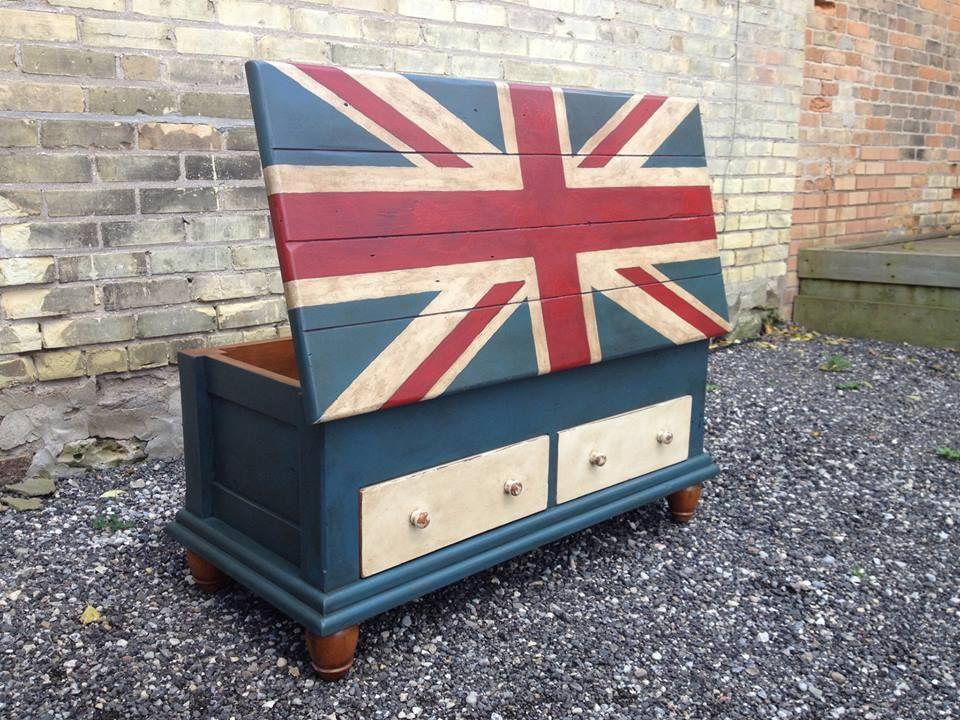 British flag union jack chalk paint chest painted by kathie jordan design chalkpaint chalk - British paints exterior decor ...