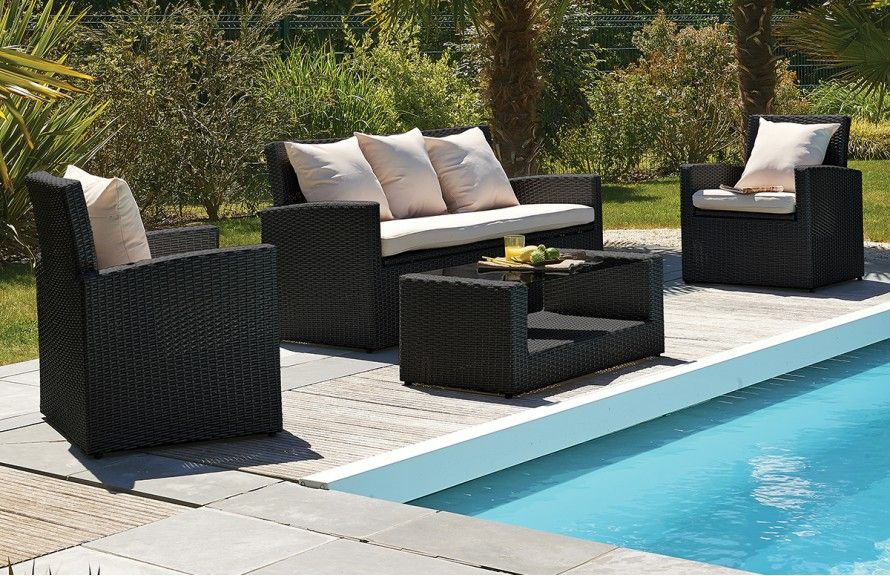 Salon Confort 5 Places En Resine Tressee Noire Salon De Jardin Mobilier De Jardin Design Mobilier Jardin