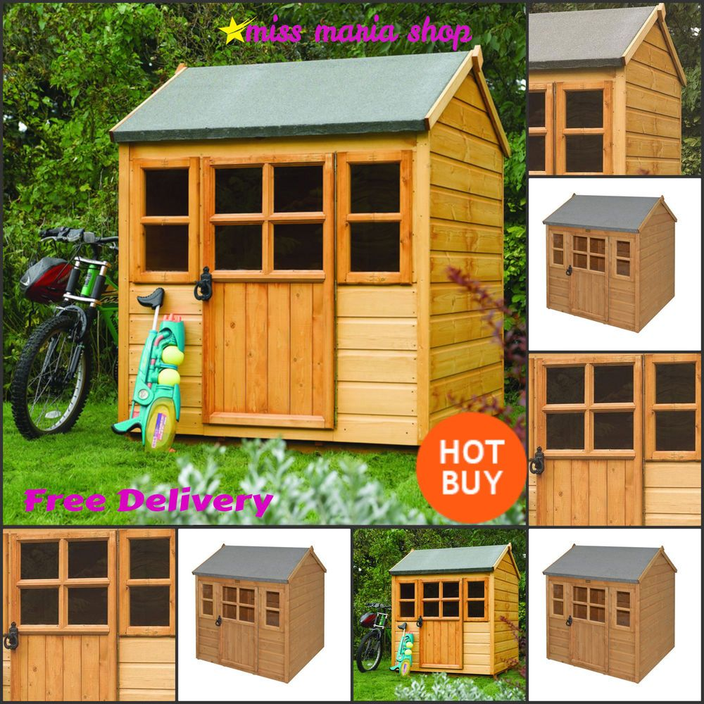 wooden play house shed wendy house playhouses kids garden children little lodge