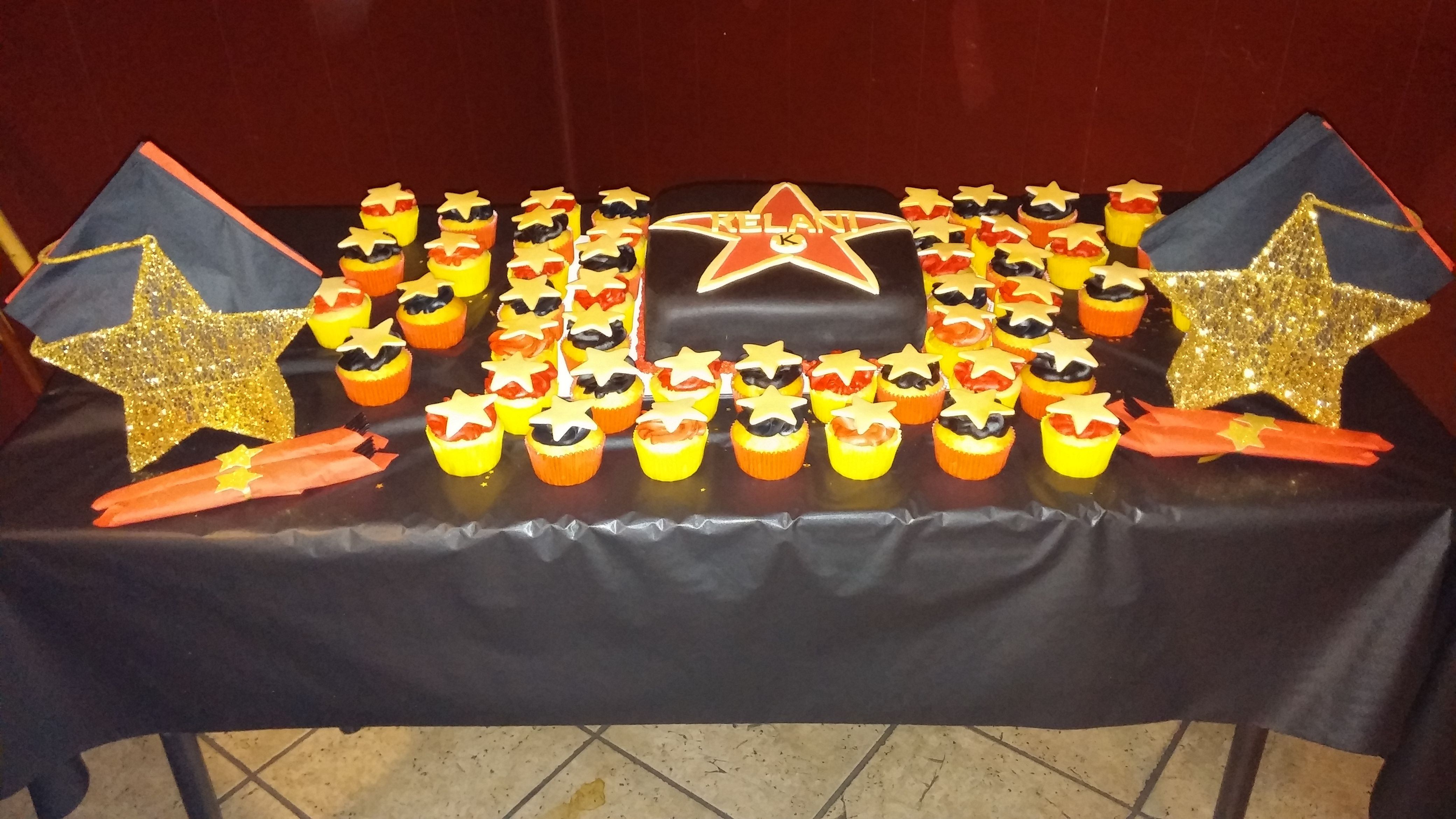 Hollywood theme cake and cupcakes birthday party themes
