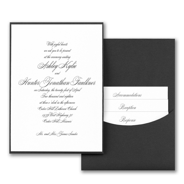 Joyful Details Wedding Invitation with Black Pocket http ...