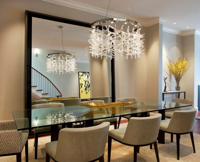 Beautiful Modern Crystal Dining Room Chandeliers Combined With Glass Dining Table |  Decolover.net