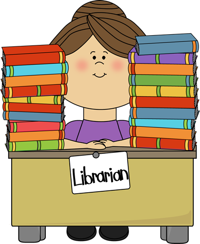library clip art free clip art image librarian sitting at a desk rh pinterest com free clipart library bookshelf free clip art library resources