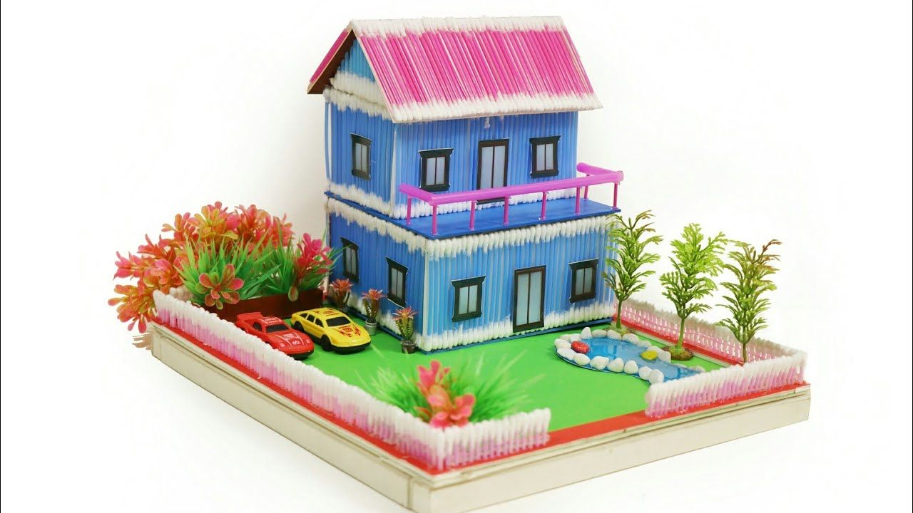 How To Make A Wonderful Villa Using Cotton Bud Straw Pool With Slime Youtube Art And Craft Videos Popsicle House Building For Kids