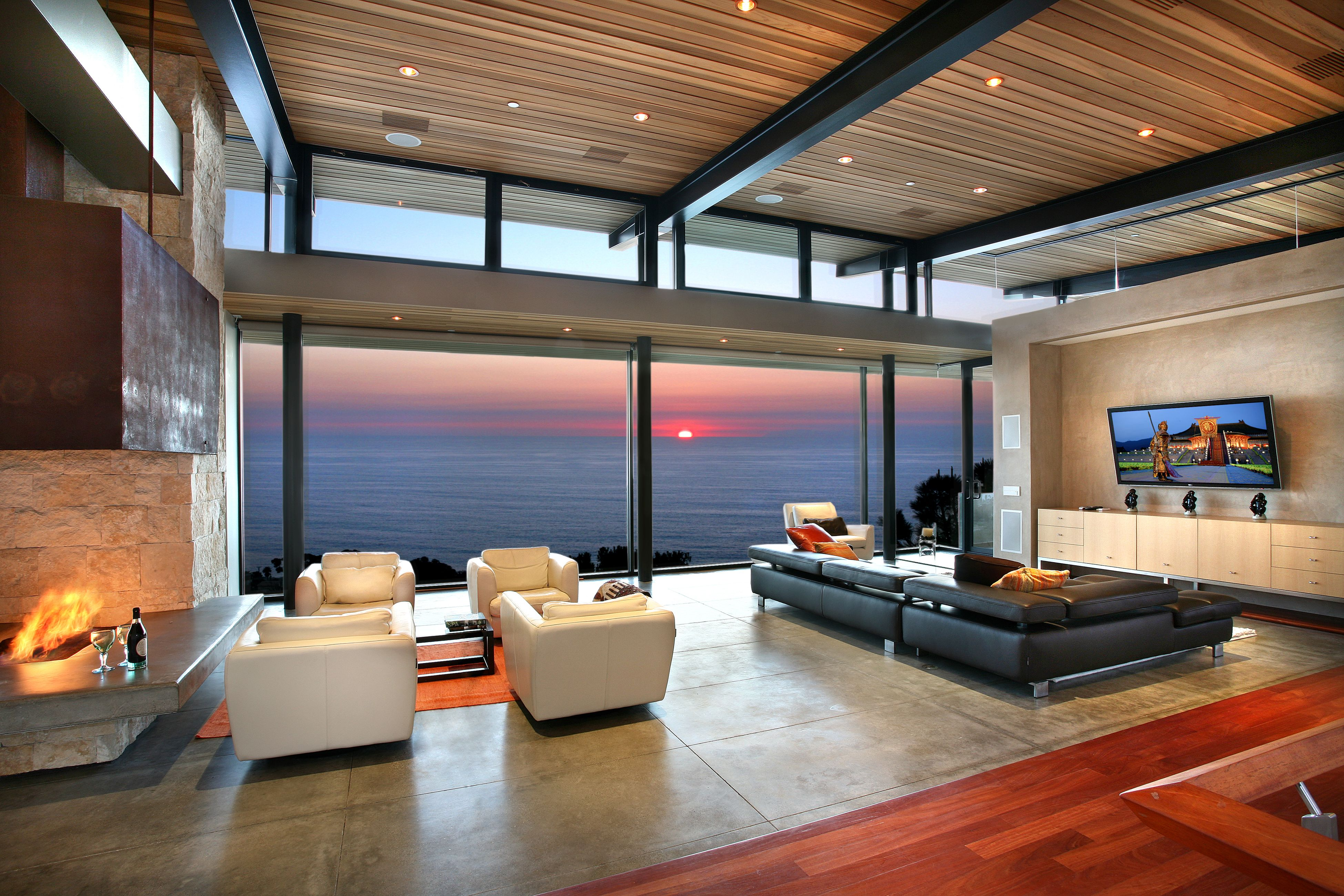 Beautiful Panoramic Ocean View Living Room Design With Modern White