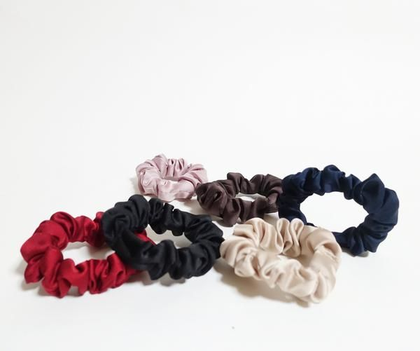 Suede Scrunchies A Set of 5 Ponytail Holders Fall Winter Hair Scrunchies