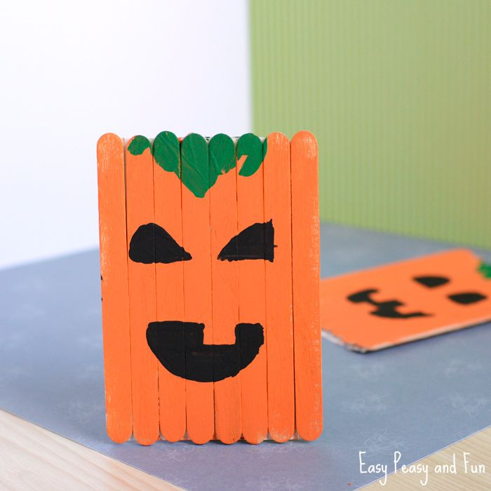 Popsicle Stick Pumpkin Craft - Halloween Craft Craft and Easy - how to make halloween decorations for kids