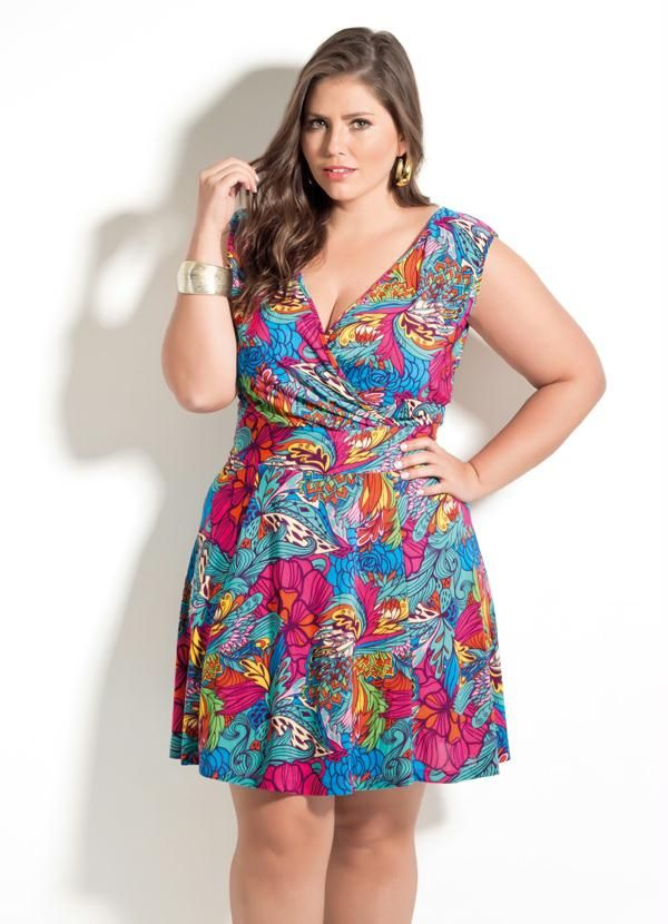 589c43f00 Vestido Decote V Quintess (Folhagens) Plus Size | vestidos | Best ...