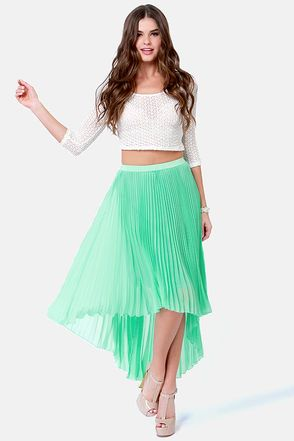 5699df06b Accordion to Plan Mint Pleated Skirt | FASHION ❥ | Pleated ...