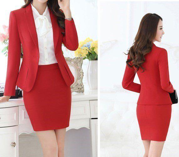 d4abd7e54 Uniform Design Red Black Grey Formal Business Suits For Women Office ...